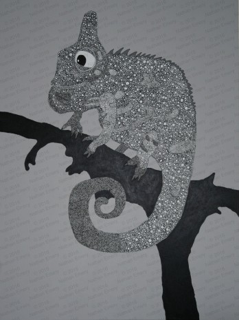 This is a large acrylic painting, rather than pen and ink used to create the other chameleons. This took a VERY long time to complete, but I think the effect was worth it.