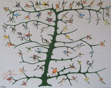 This painting represents an evolutionary tree of the passeriformes - the songbirds.
