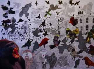 This was my first attempt at a collage based on Hitchcock's The Birds. Now the crows are terrifying various primates, with some of the birds created from cut outs of my published corvid papers.